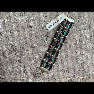 Lucky Brand Silver-Tone Stone & Leather  Bracelet